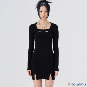[feverminute] WORLD SQUARE ONEPIECE_BLACK