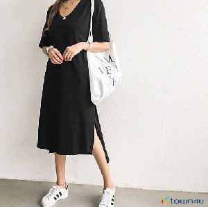 [naning9]Hacken Slit Long Dress_Black