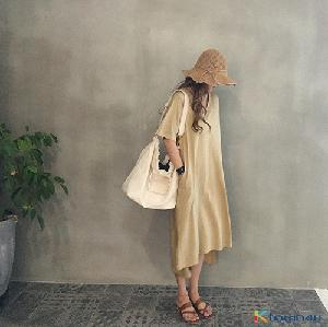 [naning9]Hacken Slit Long Dress_beige