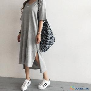 [naning9]Hacken Slit Long Dress_Gray