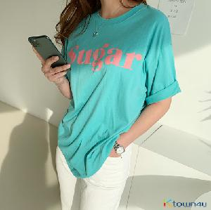 [naning9]Luel Printed Short-Sleeved T-shirt_Mint