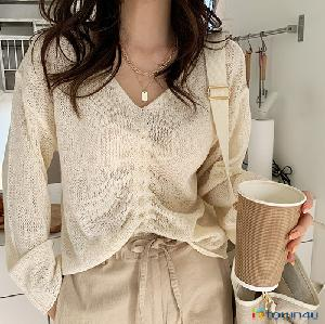[naning9]Giels String Knit_Cream