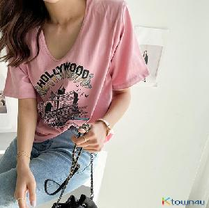[naning9]Montp Printed Pad Short-Sleeved T-Shirt_Pink