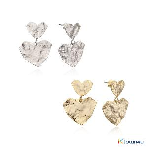 [RITA MONICA] Hammered Heart Earrings (Yellow Gold)