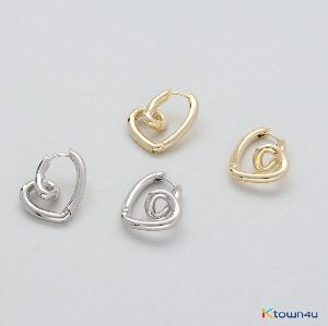 [RITA MONICA] Heart Twist Hoop Earrings (Yellow Gold)
