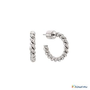 [RITA MONICA] Rope Hoop Earrings S (White Gold)
