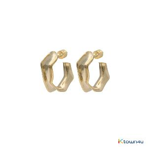 [RITA MONICA] Folded Hoop Earrings (Yellow Gold)