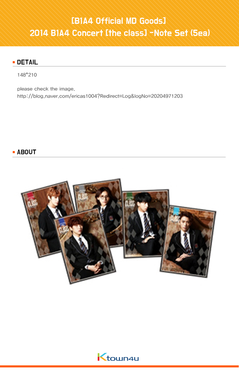 [B1A4 The Class] -Note Set (5ea) [B1A4 Official MD Goods]