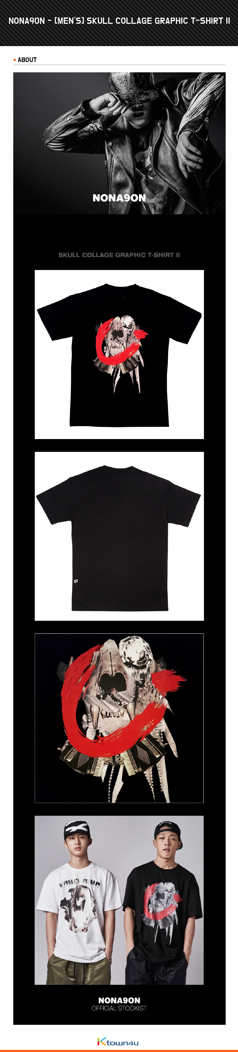 [iKON BOBBY, B.I] NONA9ON - [MEN'S] SKULL COLLAGE GRAPHIC T-SHIRT II