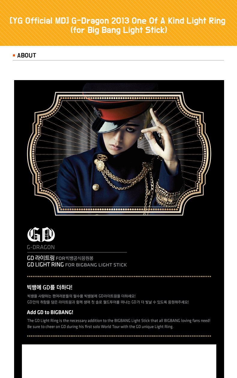 G-Dragon One Of A Kind Light Ring (for Big Bang Light Stick)